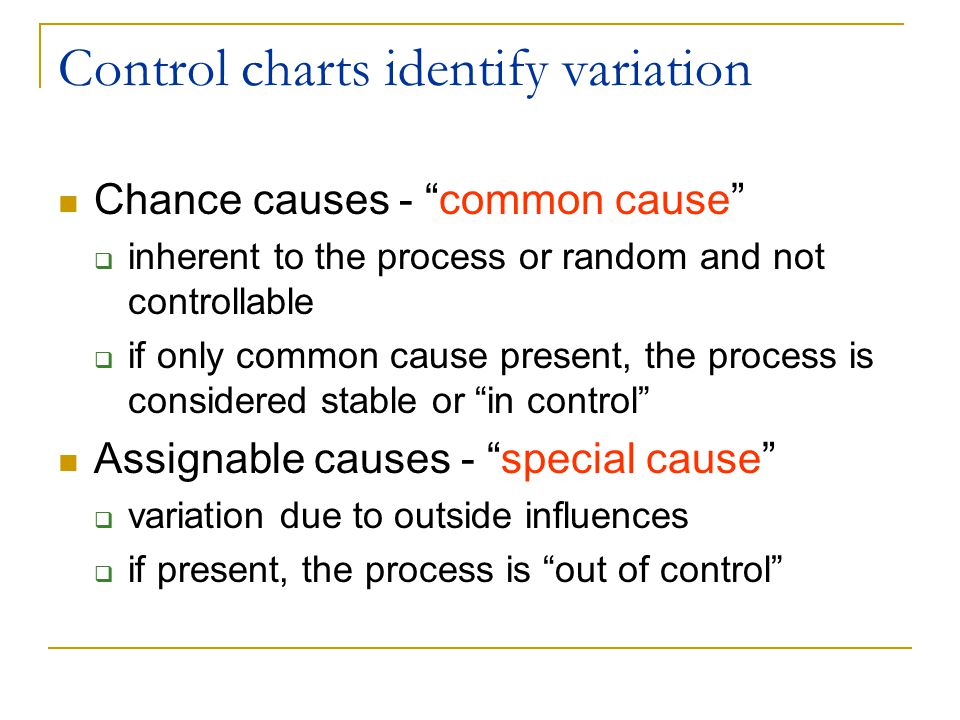 Control charts help us learn more about processes Separate common and special causes of variation Determine whether a process is in a state of statistical control or out-of-control Estimate the process parameters (mean, variation) and assess the performance of a process or its capability