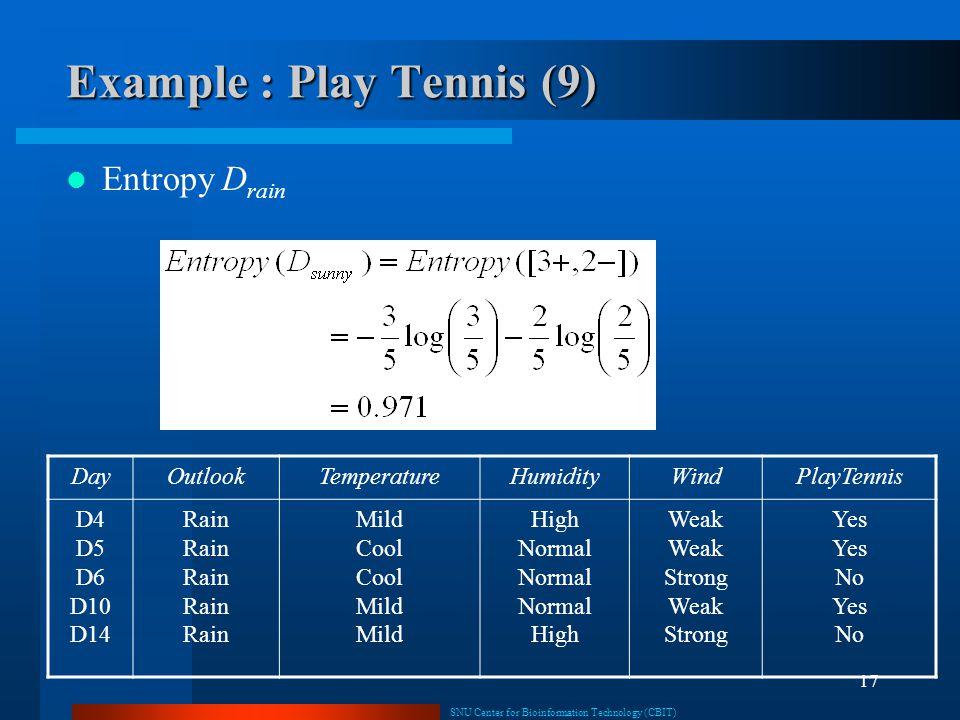 SNU Center for Bioinformation Technology (CBIT) 17 Example : Play Tennis (9) Entropy D rain DayOutlookTemperatureHumidityWindPlayTennis D4 D5 D6 D10 D14 Rain Mild Cool Mild High Normal High Weak Strong Weak Strong Yes No Yes No