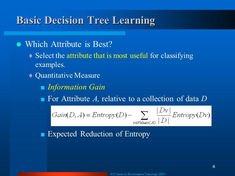 SNU Center for Bioinformation Technology (CBIT) 6 Basic Decision Tree Learning Which Attribute is Best?  Select the attribute that is most useful for