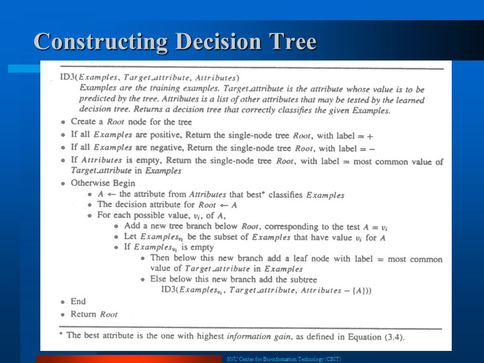SNU Center for Bioinformation Technology (CBIT) 8 Constructing Decision Tree