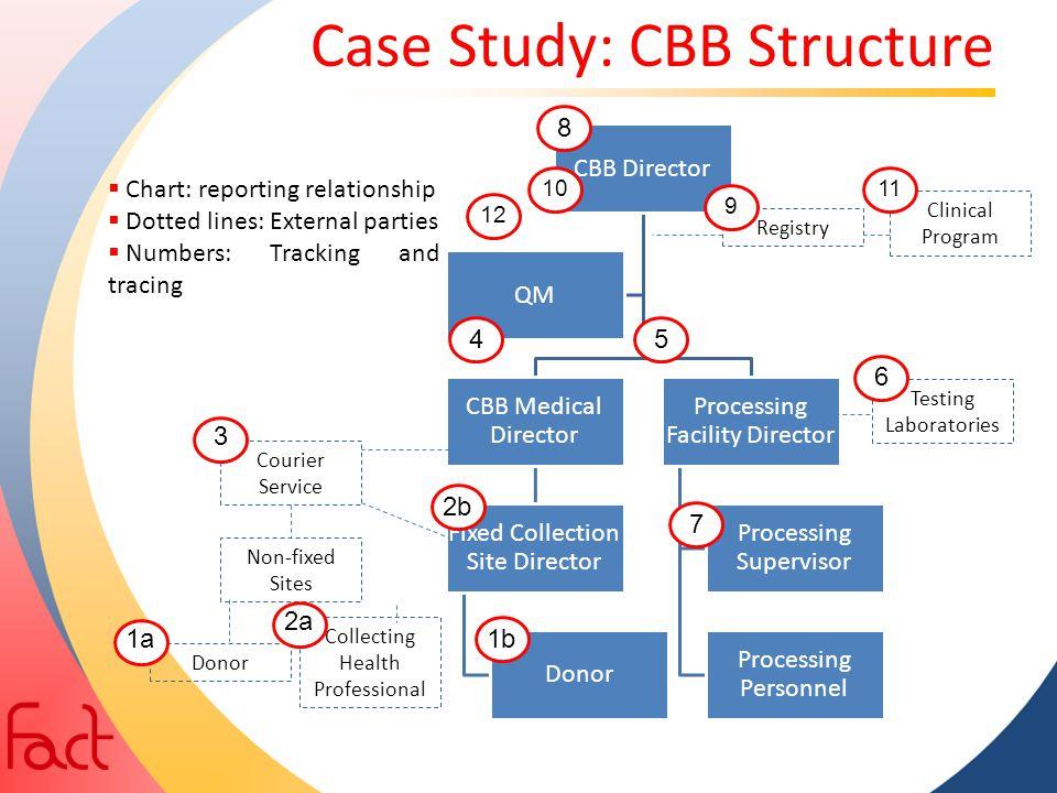 Case Study: CBB Structure CBB Director CBB Medical Director Fixed Collection Site Director Donor Processing Facility Director Processing Supervisor Pr