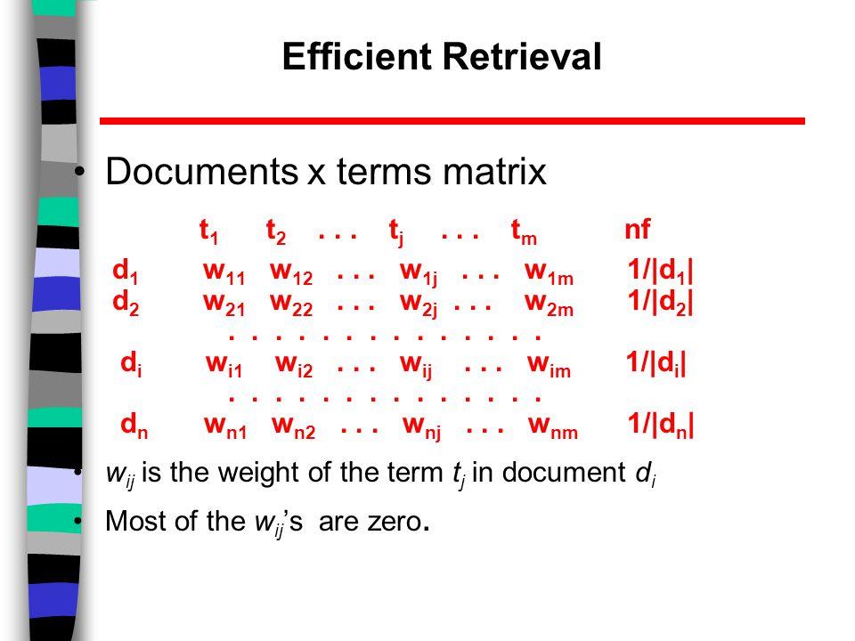 Efficient Retrieval Documents x terms matrix t 1 t 2...