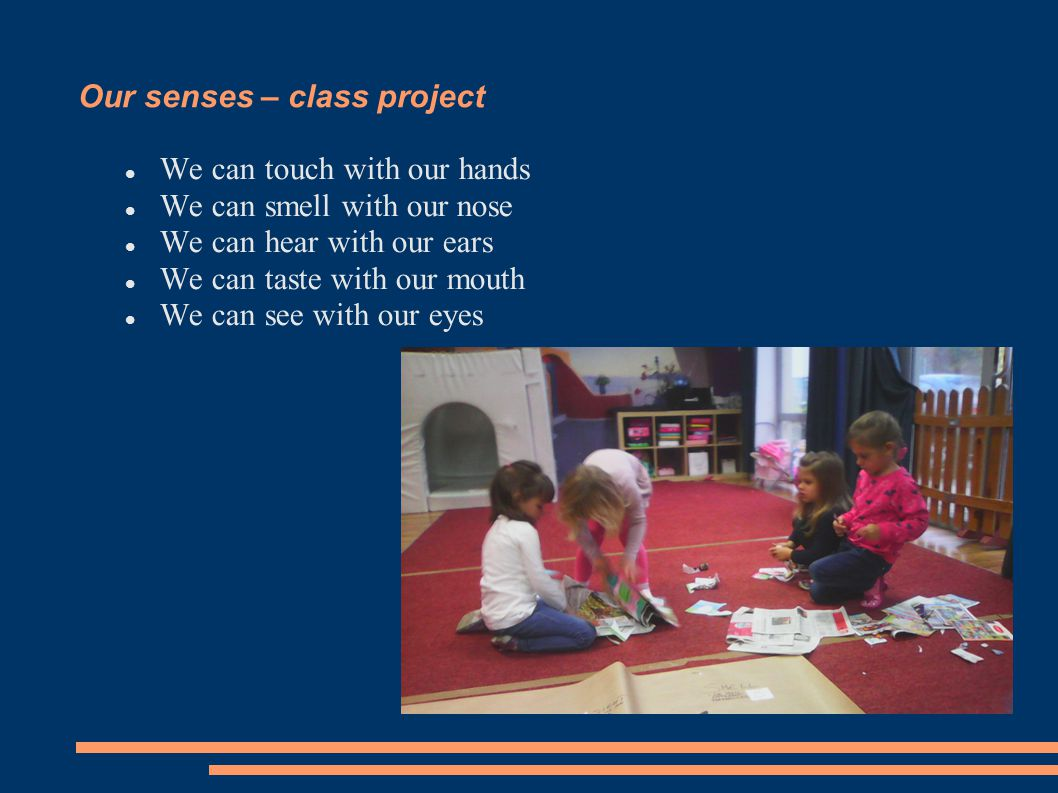 Our senses – class project We can touch with our hands We can smell with our nose We can hear with our ears We can taste with our mouth We can see with our eyes