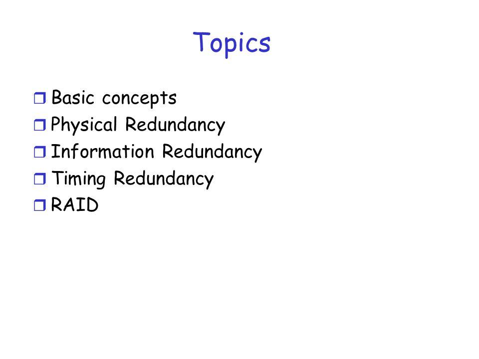 Topics r Basic concepts r Physical Redundancy r Information Redundancy r Timing Redundancy r RAID