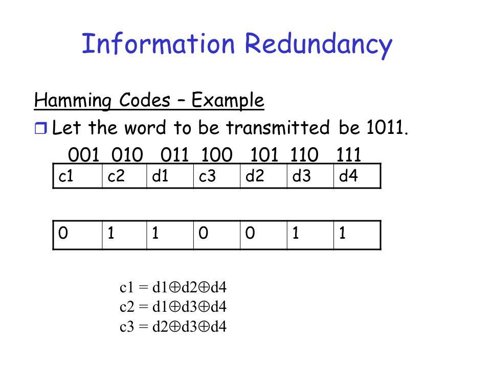 Information Redundancy Hamming Codes – Example r Let the word to be transmitted be 1011. 001 010 011 100 101 110 111 c1c2d1c3d2d3d4 0110011 c1 = d1 