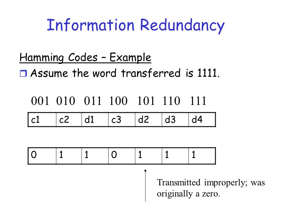 Information Redundancy Hamming Codes – Example r Assume the word transferred is 1111. c1c2d1c3d2d3d4 0110111 001 010 011 100 101 110 111 Transmitted i