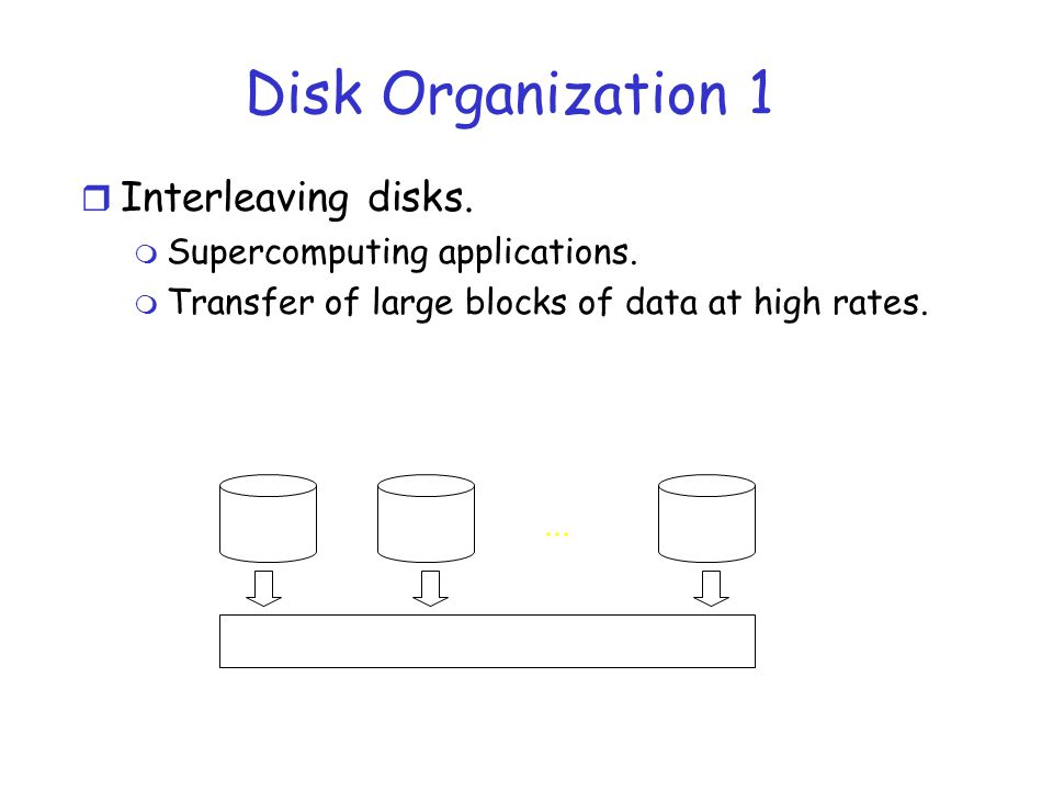 Disk Organization 1 r Interleaving disks. m Supercomputing applications. m Transfer of large blocks of data at high rates.... Grouped read: single rea
