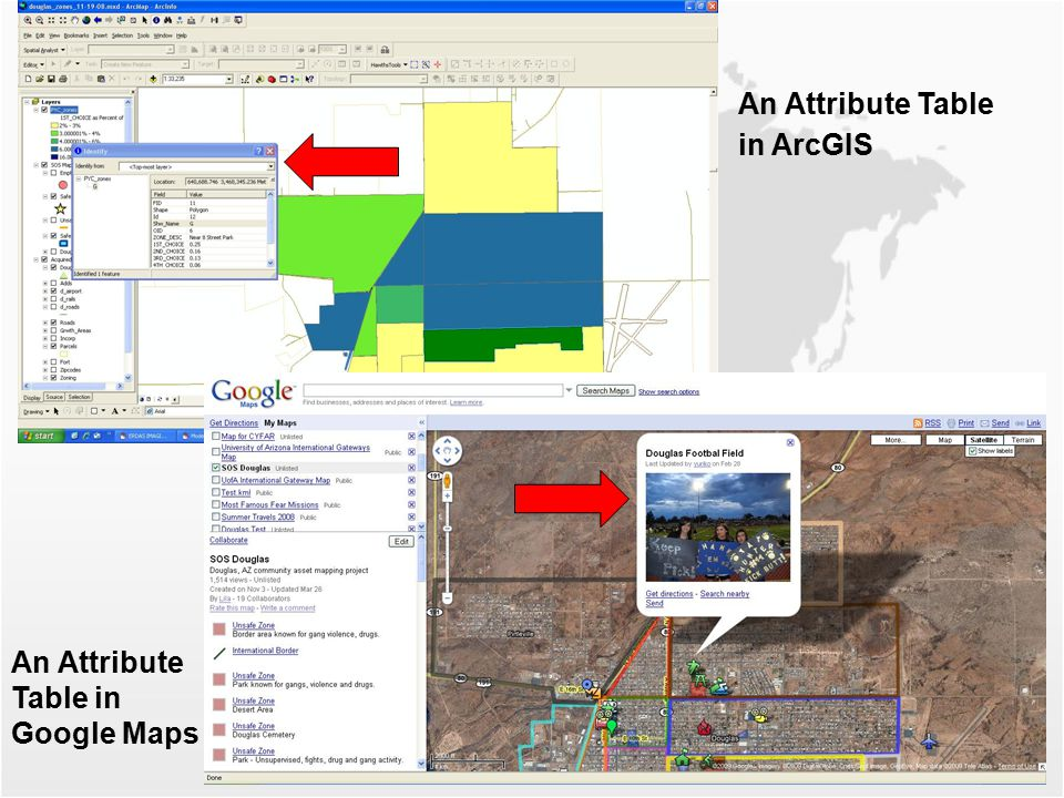 An Attribute Table in ArcGIS An Attribute Table in Google Maps