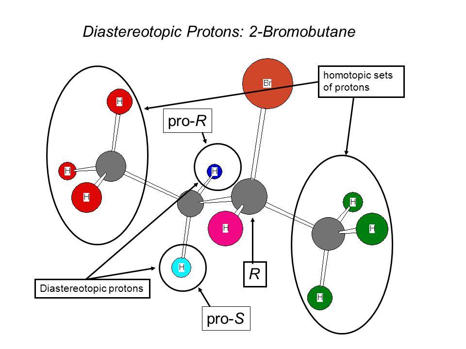 Diastereotopic Protons: 2-Bromobutane homotopic sets of protons Diastereotopic protons R pro-R pro-S