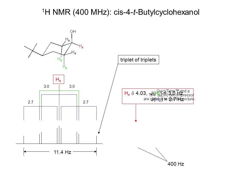 1 H NMR (400 MHz): cis-4-t-Butylcyclohexanol H e  4.03, J(H a ) = 3.0 Hz J(H e ) = 2.7 Hz H e  4.03, J(H a ) = 3.0 Hz J(H e ) = 2.7 Hz 400 Hz HeHe 11.4 Hz triplet of triplets 2.7 3.0