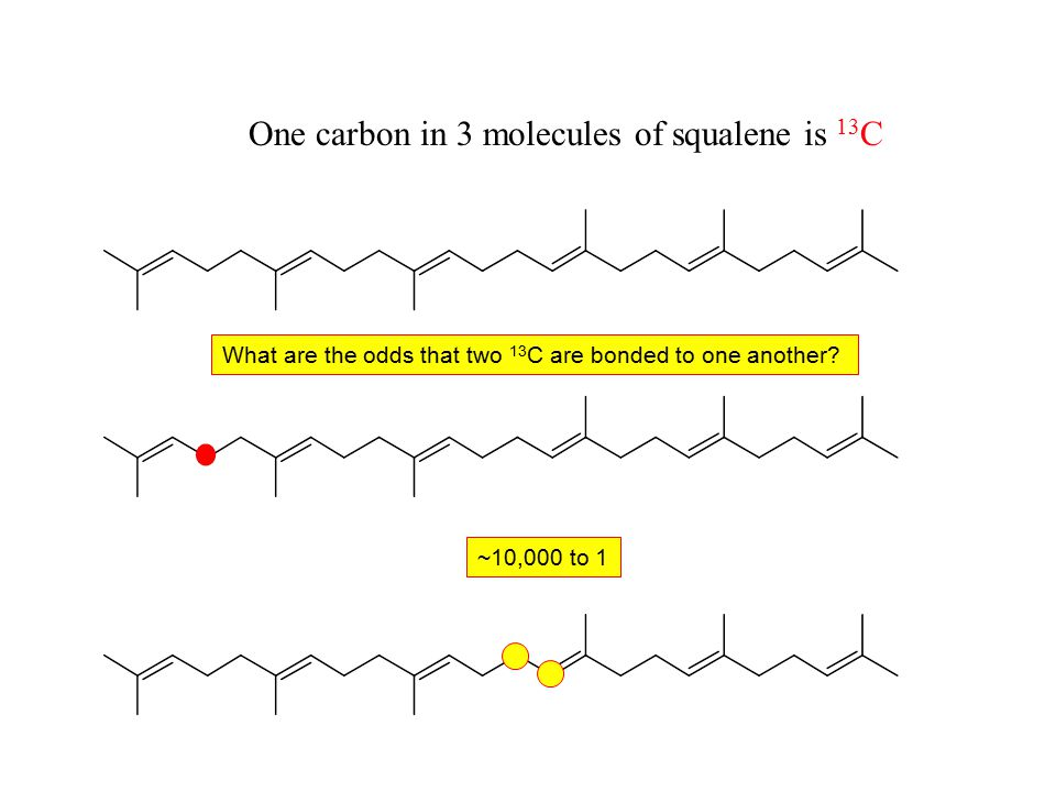 One carbon in 3 molecules of squalene is 13 C What are the odds that two 13 C are bonded to one another.