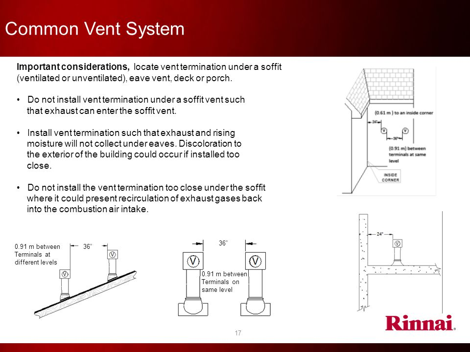 17 Common Vent System Important considerations, locate vent termination under a soffit (ventilated or unventilated), eave vent, deck or porch. Do not