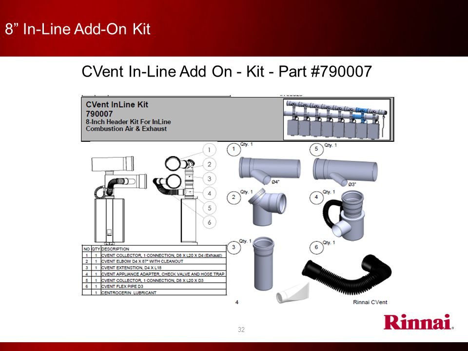 """8"""" In-Line Add-On Kit 32 CVent In-Line Add On - Kit - Part #790007"""