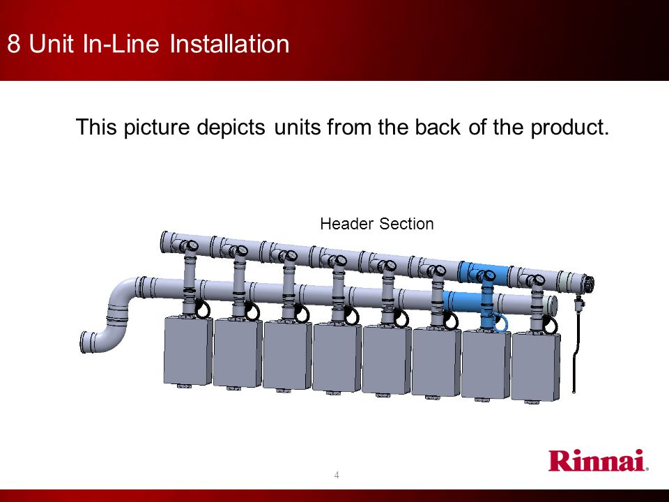 8 Unit In-Line Installation 4 This picture depicts units from the back of the product. Header Section