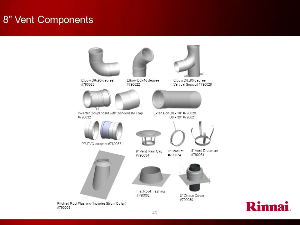 """8"""" Vent Components 46 Elbow D8x90 degree #790023 Elbow D8x45 degree #790022 Elbow D8x90 degree Vertical Support #790029 Inverter Coupling Kit with Con"""