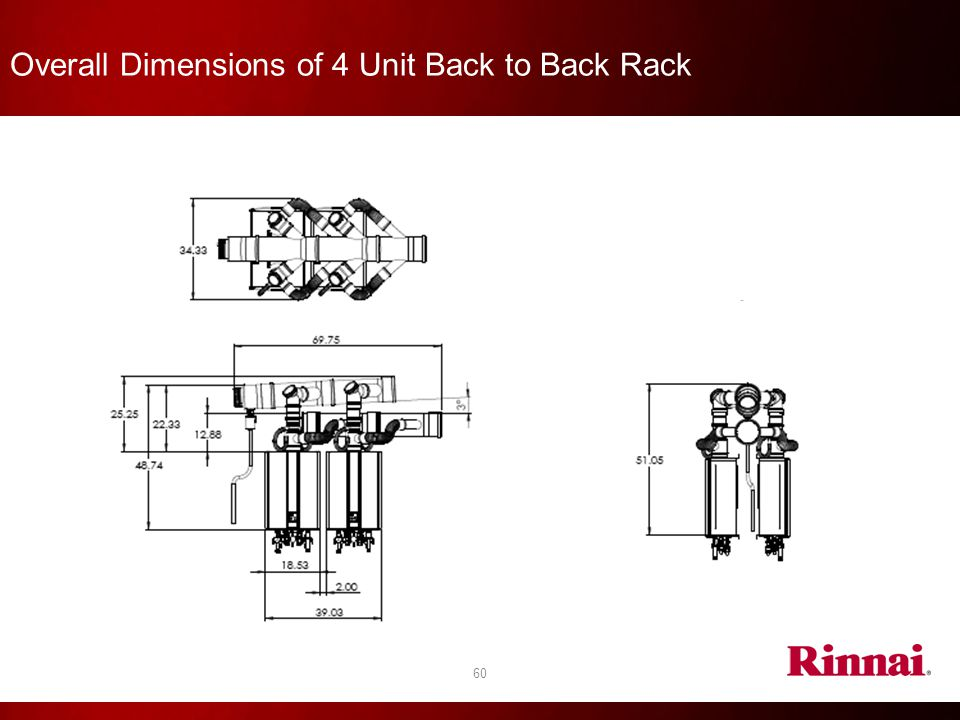 60 Overall Dimensions of 4 Unit Back to Back Rack