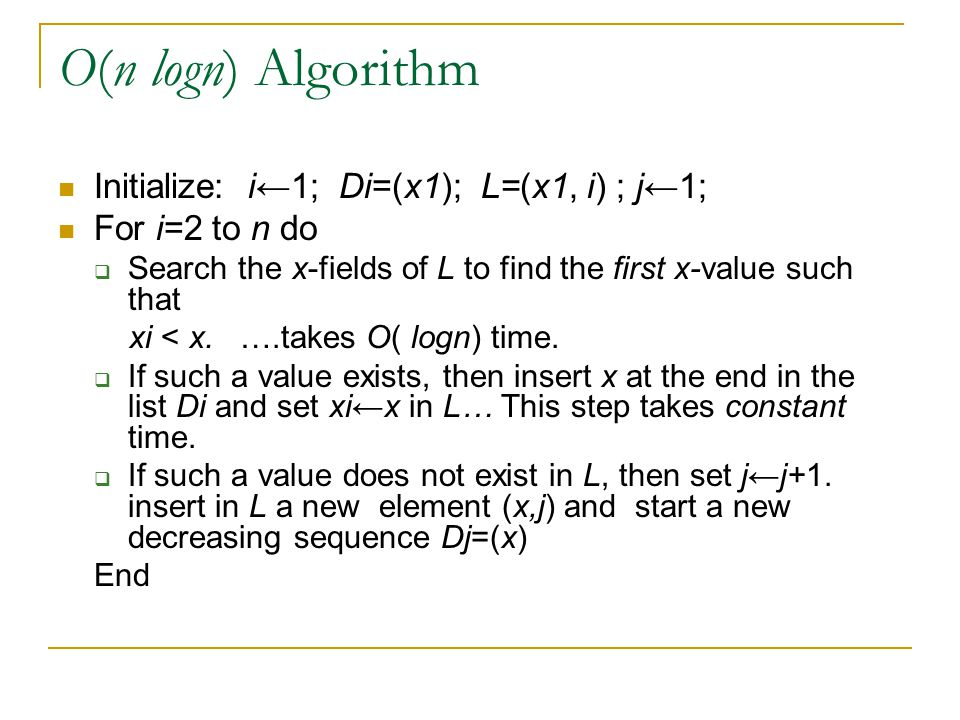 Lemma:  At any point in the execution of the algorithm the list L is sorted in increasing order with respect to x-values as well as with respect to identifier value.