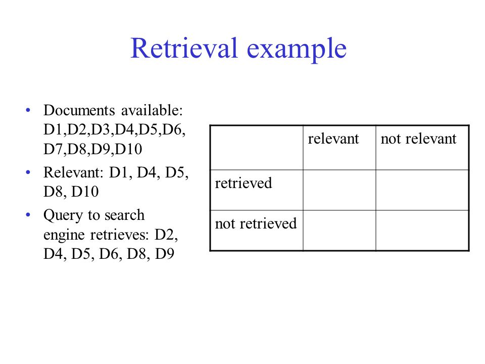 Retrieval example Documents available: D1,D2,D3,D4,D5,D6, D7,D8,D9,D10 Relevant: D1, D4, D5, D8, D10 Query to search engine retrieves: D2, D4, D5, D6, D8, D9 relevantnot relevant retrieved not retrieved