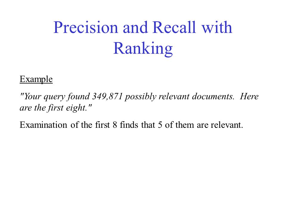 Precision and Recall with Ranking Example Your query found 349,871 possibly relevant documents.