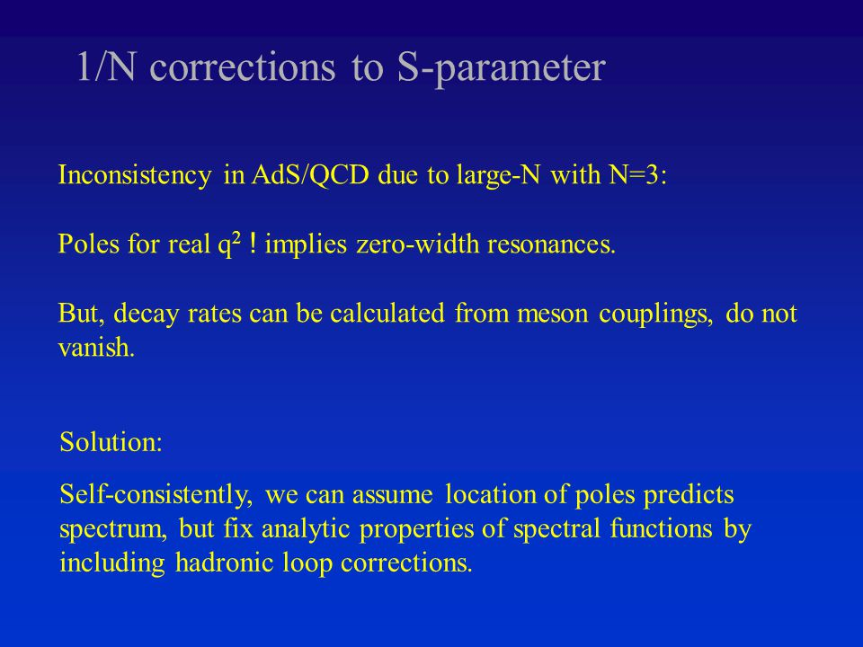 1/N corrections to S-parameter Inconsistency in AdS/QCD due to large-N with N=3: Poles for real q 2 .