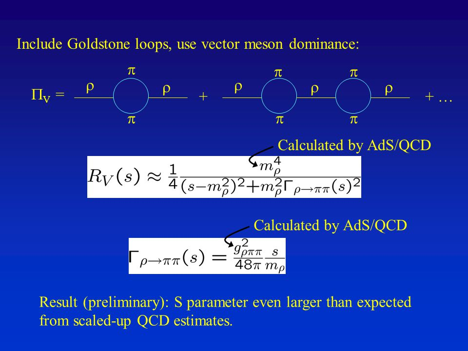 Include Goldstone loops, use vector meson dominance:           + …+  V = Result (preliminary): S parameter even larger than expected from scaled-up QCD estimates.