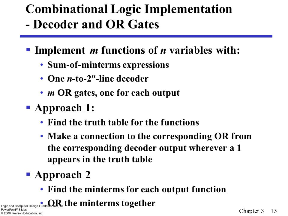 Chapter 3 15 Combinational Logic Implementation - Decoder and OR Gates  Implement m functions of n variables with: Sum-of-minterms expressions One n-
