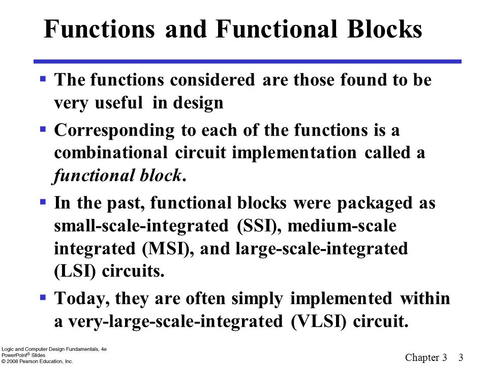 Chapter 3 3 Functions and Functional Blocks  The functions considered are those found to be very useful in design  Corresponding to each of the func