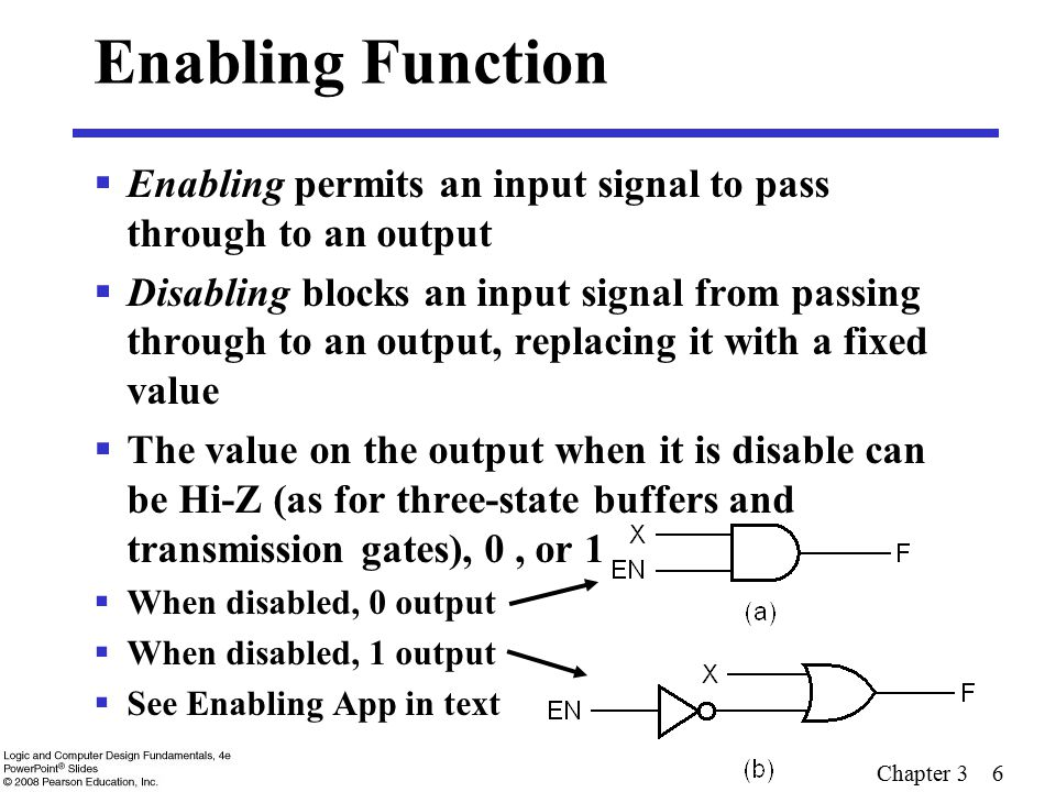 Chapter 3 6 Enabling Function  Enabling permits an input signal to pass through to an output  Disabling blocks an input signal from passing through