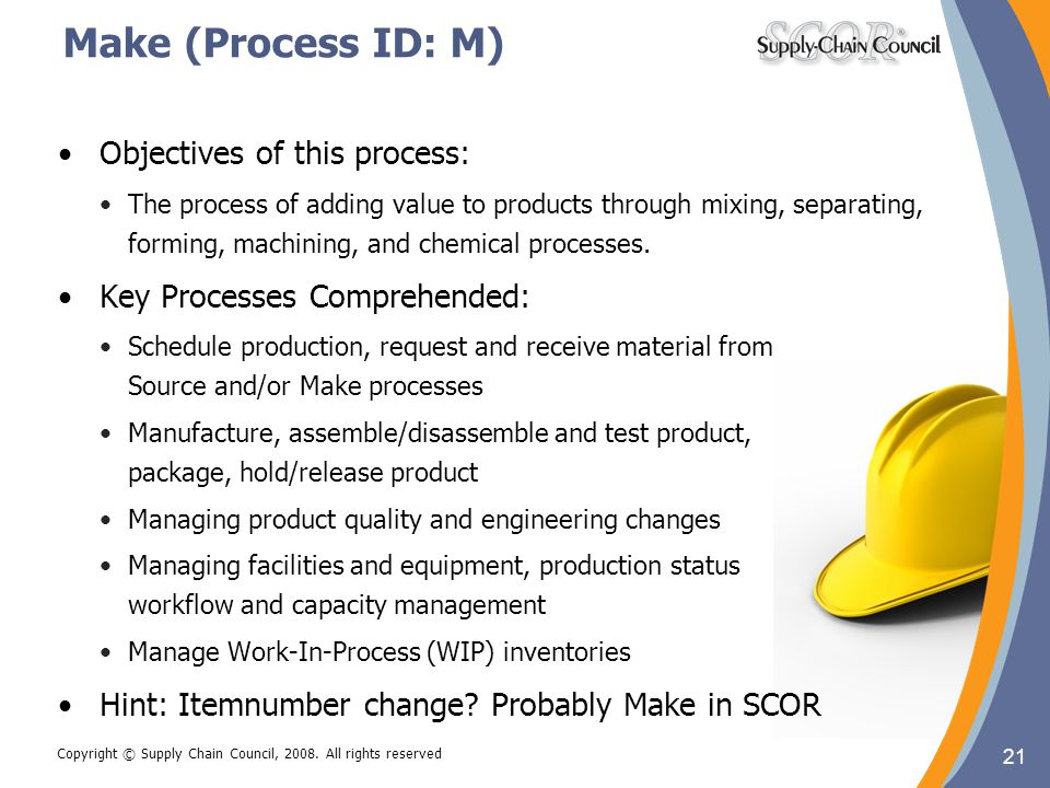 21 Copyright © Supply Chain Council, 2008. All rights reserved Make (Process ID: M) 21 Objectives of this process: The process of adding value to prod