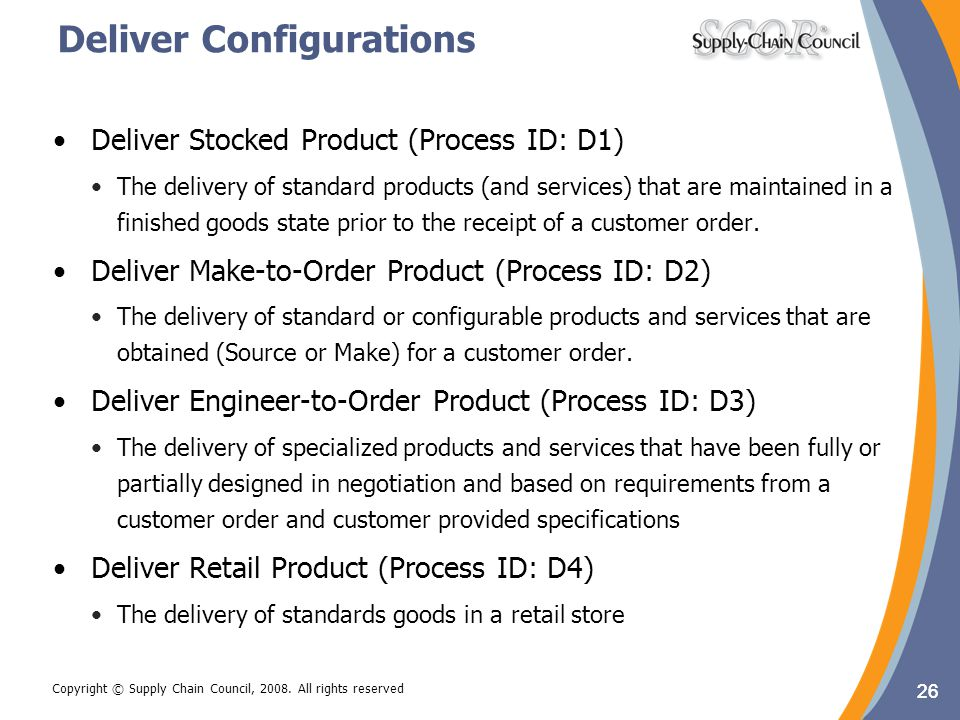 26 Copyright © Supply Chain Council, 2008. All rights reserved Deliver Configurations 26 Deliver Stocked Product (Process ID: D1) The delivery of stan