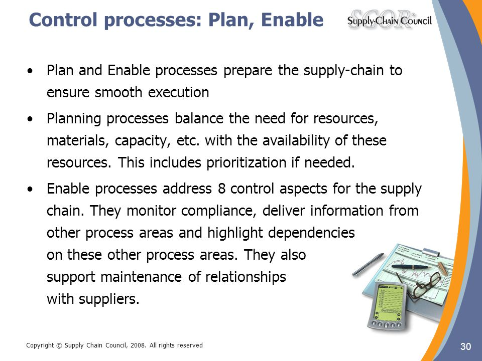 30 Copyright © Supply Chain Council, 2008. All rights reserved Control processes: Plan, Enable Plan and Enable processes prepare the supply-chain to e