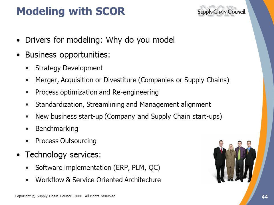 44 Copyright © Supply Chain Council, 2008. All rights reserved Modeling with SCOR Drivers for modeling: Why do you model Business opportunities: Strat