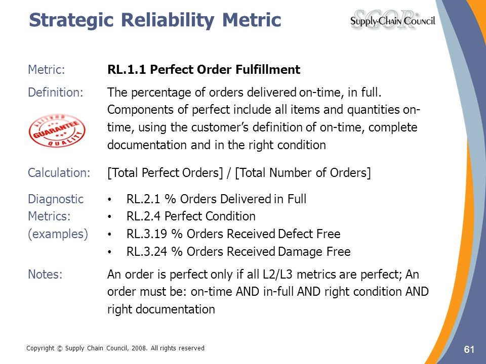 61 Metric:RL.1.1 Perfect Order Fulfillment Definition: The percentage of orders delivered on-time, in full. Components of perfect include all items an