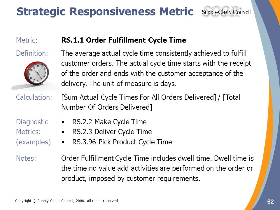 62 Metric:RS.1.1 Order Fulfillment Cycle Time Definition: The average actual cycle time consistently achieved to fulfill customer orders. The actual c