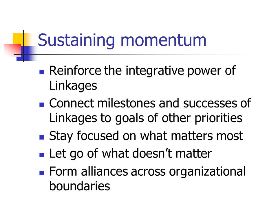Sustaining momentum Reinforce the integrative power of Linkages Connect milestones and successes of Linkages to goals of other priorities Stay focused on what matters most Let go of what doesn't matter Form alliances across organizational boundaries