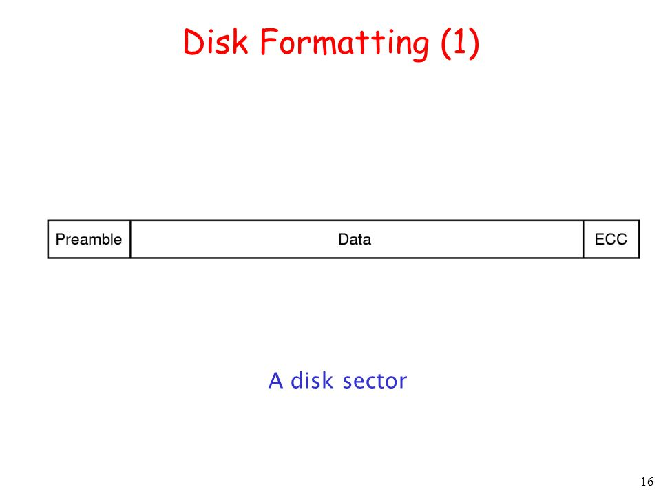 16 Disk Formatting (1) A disk sector