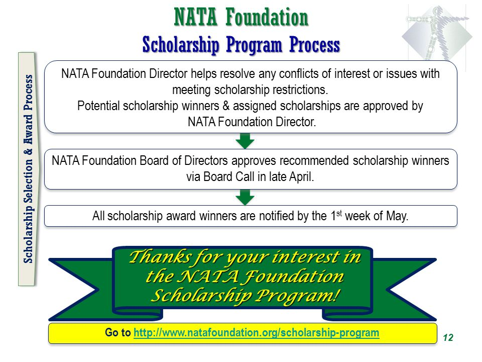NATA Foundation Scholarship Program Process All scholarship award winners are notified by the 1 st week of May. Thanks for your interest in the NATA F