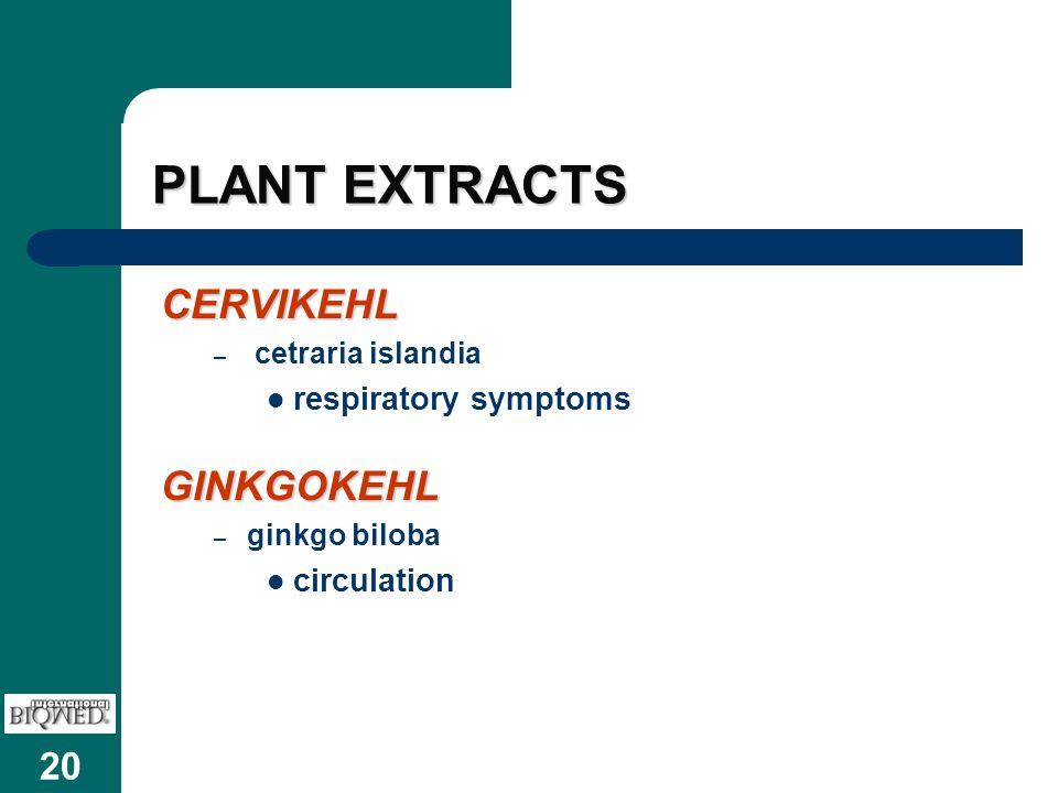 20 PLANT EXTRACTS CERVIKEHL – cetraria islandia respiratory symptomsGINKGOKEHL – ginkgo biloba circulation