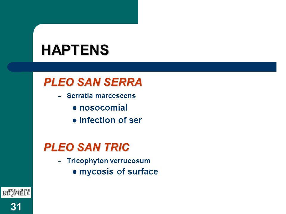 31 HAPTENS PLEO SAN SERRA – Serratia marcescens nosocomial infection of ser PLEO SAN TRIC – Tricophyton verrucosum mycosis of surface