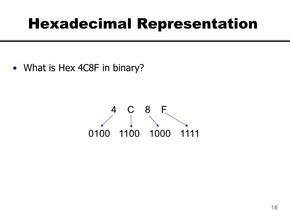 18 Hexadecimal Representation What is Hex 4C8F in binary? 4 C 8 F 1111100011000100