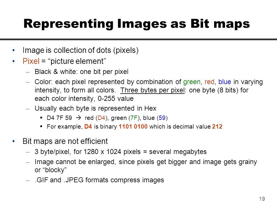 "19 Representing Images as Bit maps Image is collection of dots (pixels) Pixel = ""picture element"" – Black & white: one bit per pixel – Color: each pix"