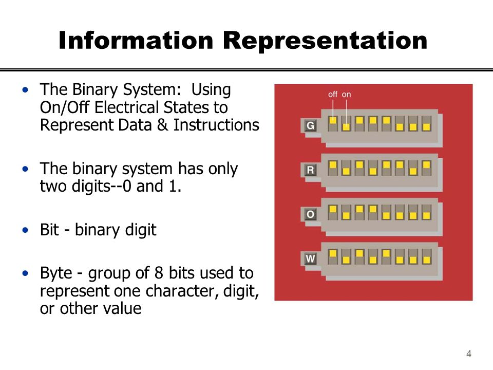 5 Representing Information with Bit Combinations To encode entities (e.g., symbols), we need to assign a unique number to each entity (e.g., social security number).