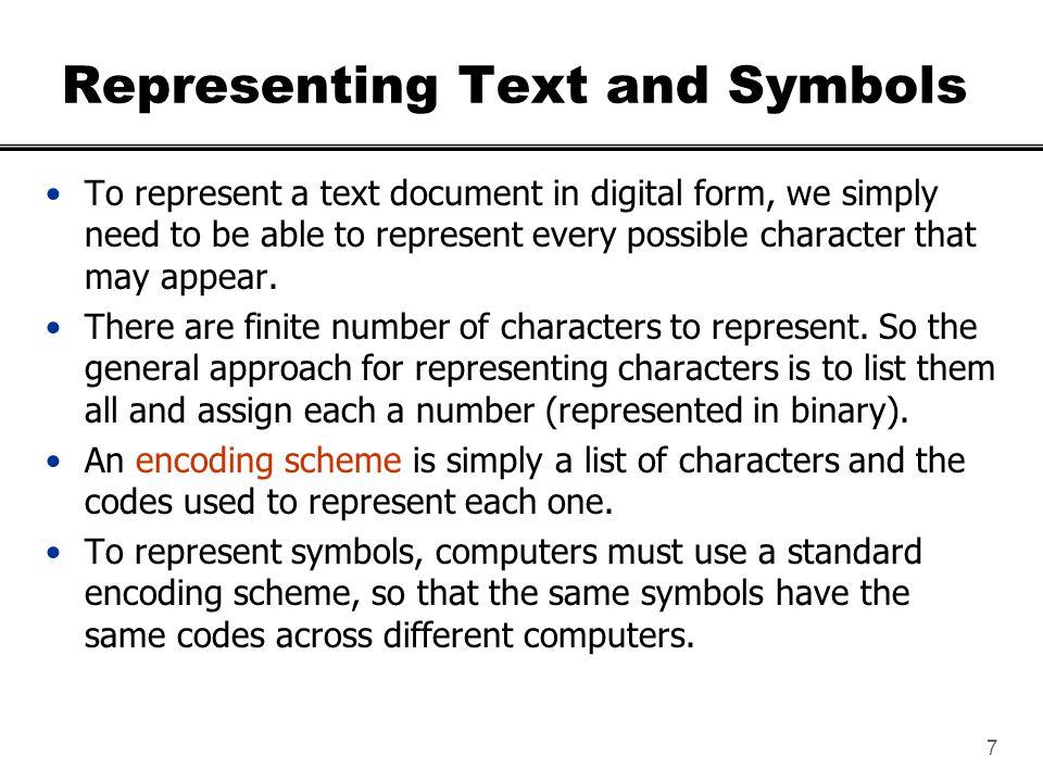 8 ASCII Encoding Scheme ASCII stands for American Standard Code for Information Interchange.