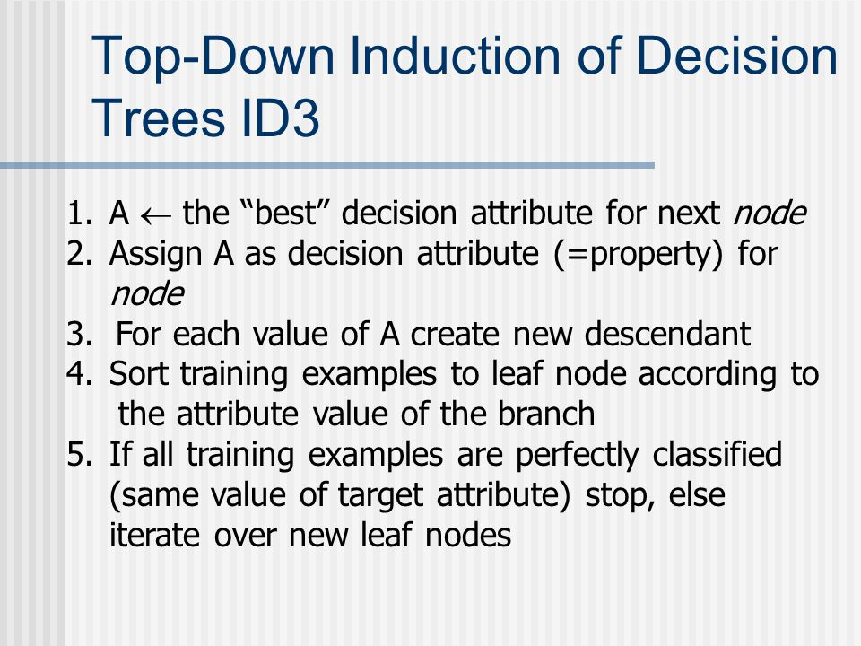 Top-Down Induction of Decision Trees ID3 1.A  the best decision attribute for next node 2.Assign A as decision attribute (=property) for node 3.