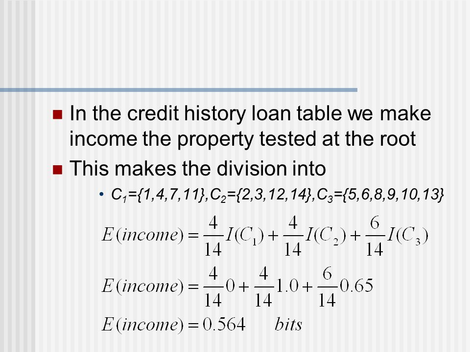 In the credit history loan table we make income the property tested at the root This makes the division into C 1 ={1,4,7,11},C 2 ={2,3,12,14},C 3 ={5,6,8,9,10,13}