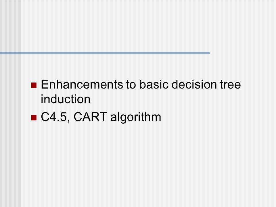Enhancements to basic decision tree induction C4.5, CART algorithm