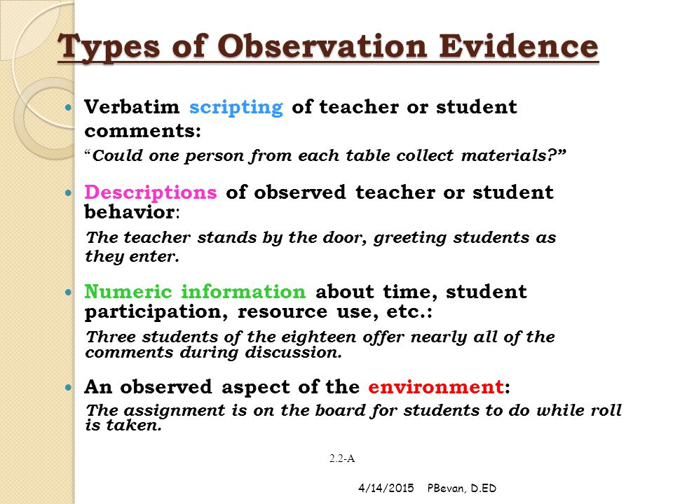 Types of Observation Evidence Verbatim scripting of teacher or student comments: Could one person from each table collect materials Descriptions of observed teacher or student behavior : The teacher stands by the door, greeting students as they enter.