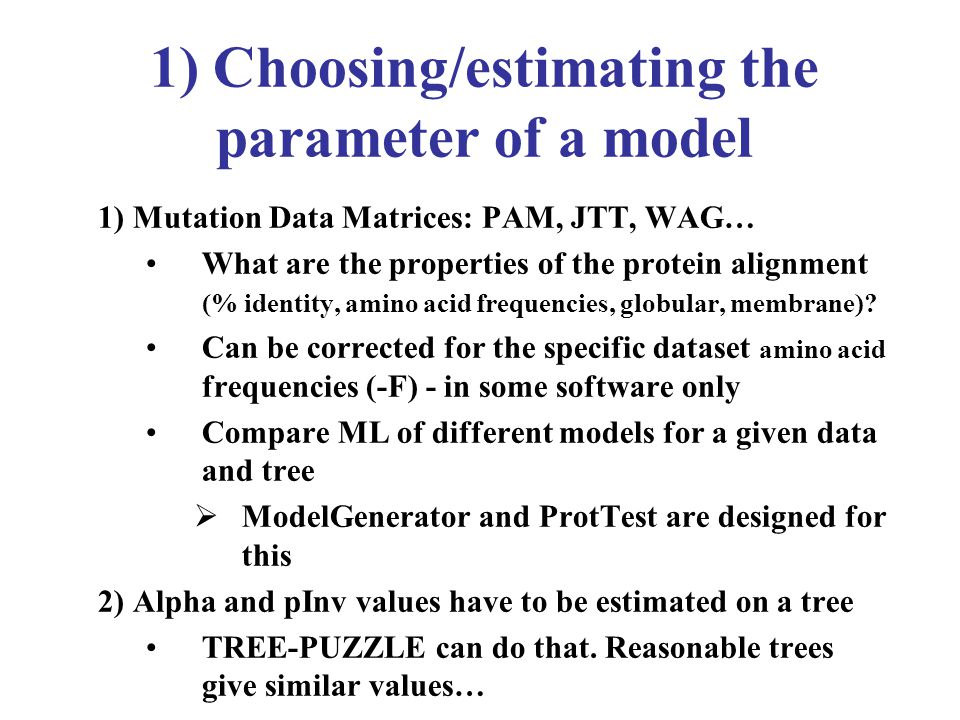 1) Choosing/estimating the parameter of a model 1) Mutation Data Matrices: PAM, JTT, WAG… What are the properties of the protein alignment (% identity, amino acid frequencies, globular, membrane).
