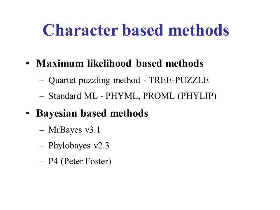 Character based methods Maximum likelihood based methods –Quartet puzzling method - TREE-PUZZLE –Standard ML - PHYML, PROML (PHYLIP) Bayesian based methods –MrBayes v3.1 –Phylobayes v2.3 –P4 (Peter Foster)