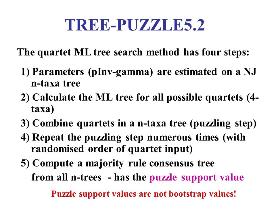 TREE-PUZZLE5.2 1) Parameters (pInv-gamma) are estimated on a NJ n-taxa tree 2) Calculate the ML tree for all possible quartets (4- taxa) 3) Combine quartets in a n-taxa tree (puzzling step) 4) Repeat the puzzling step numerous times (with randomised order of quartet input) 5) Compute a majority rule consensus tree from all n-trees - has the puzzle support value The quartet ML tree search method has four steps: Puzzle support values are not bootstrap values!